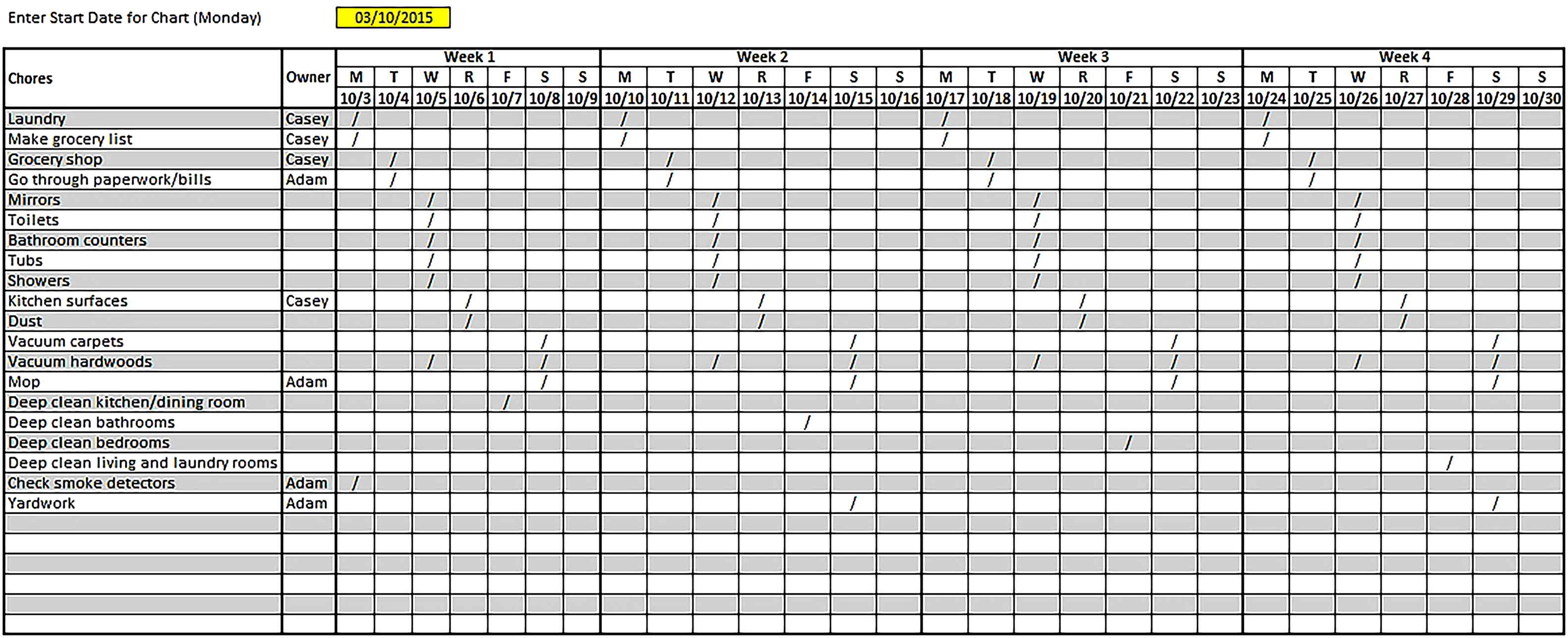 Template House Cleaning Schedule Excel Format Sample