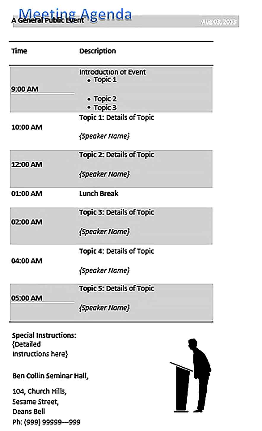 Template Meeting Agenda Public Event Conference Schedule Sample