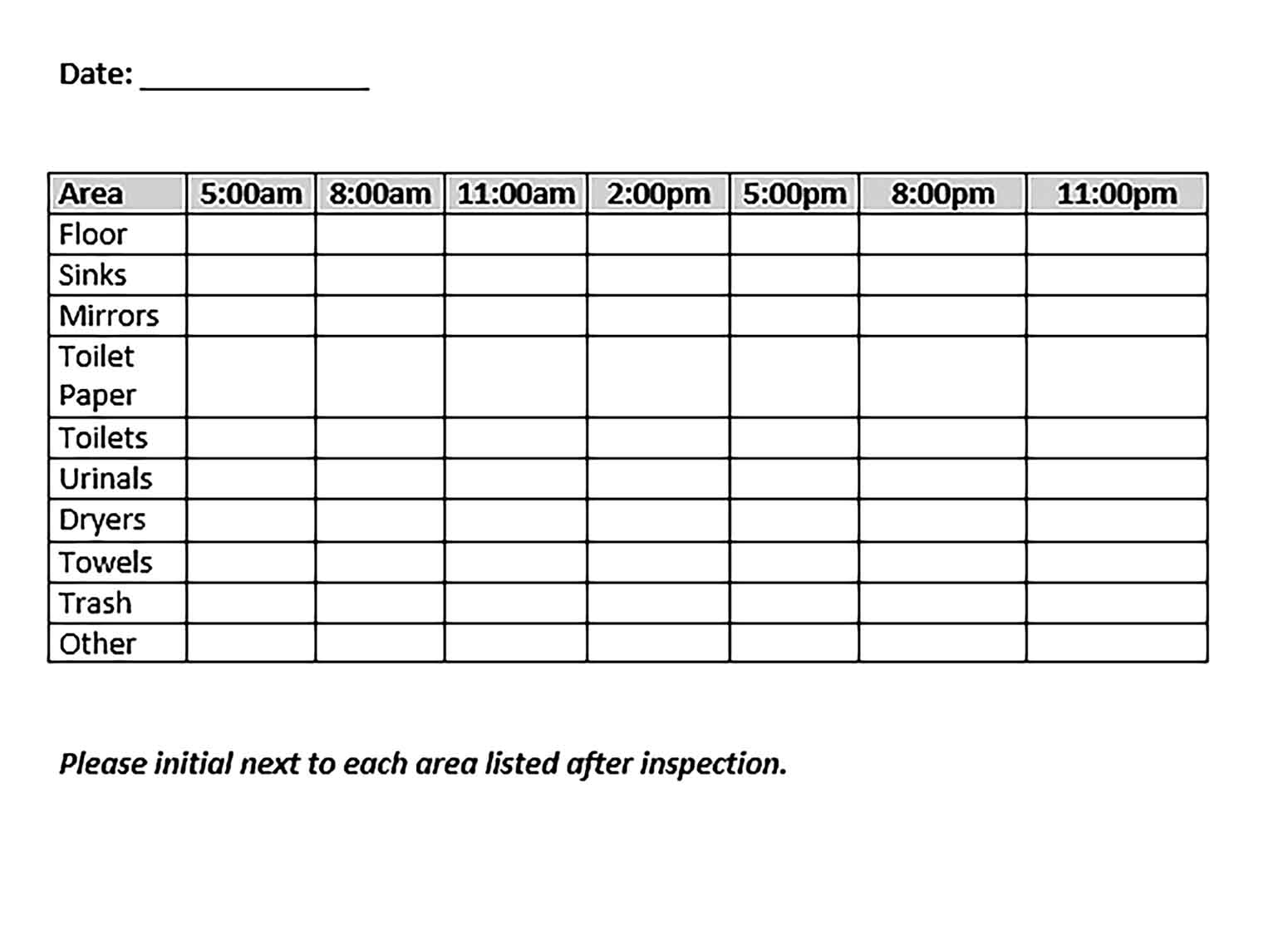 Template Restaurant Bathroom Cleaning Schedule Sample