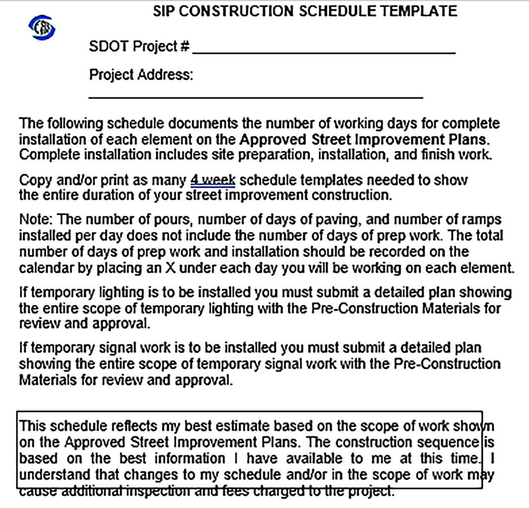 Template SIP Construction Schedule Format Sample