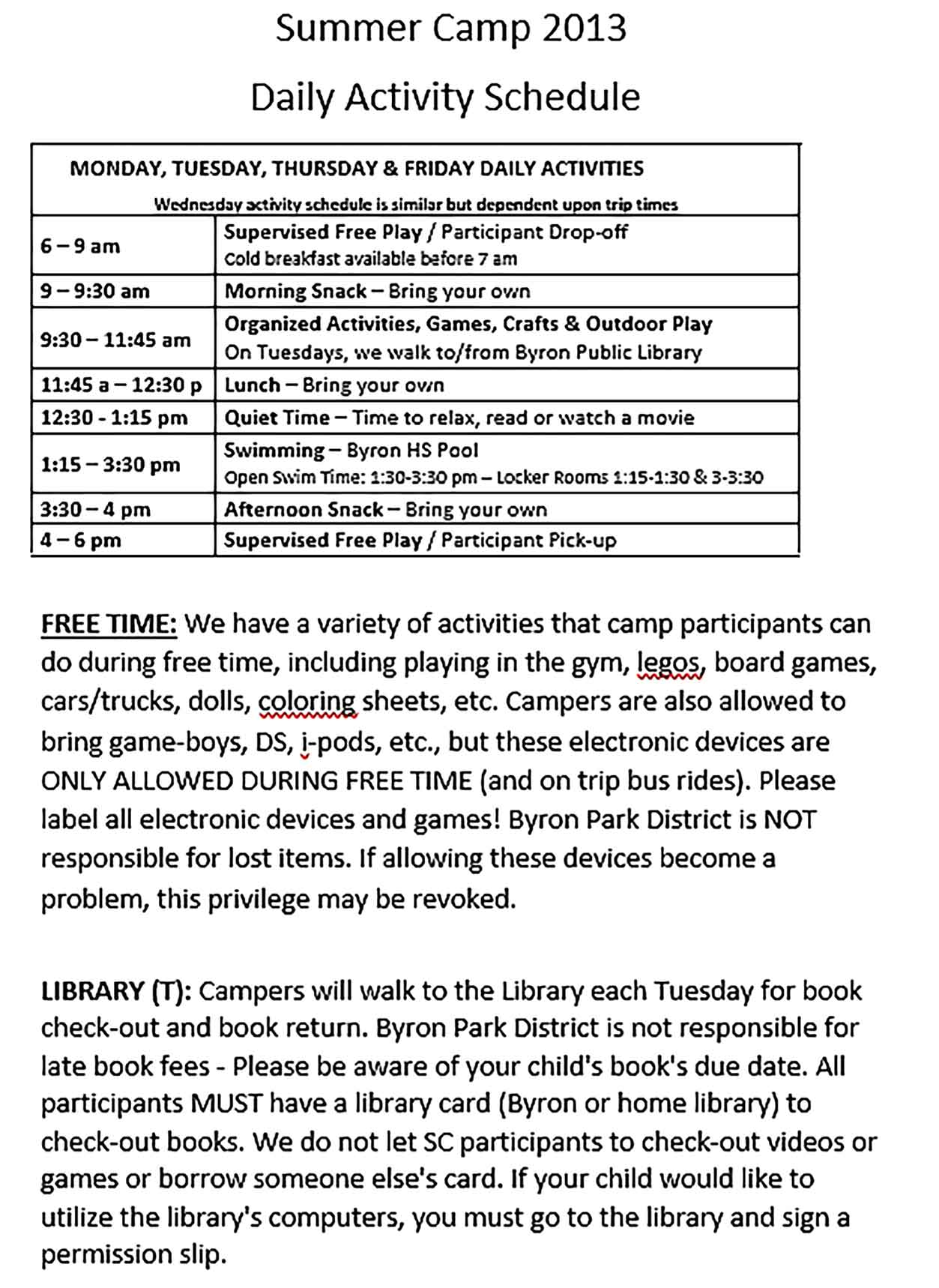 Template Summer Camp Daily Activity Schedule Format Sample