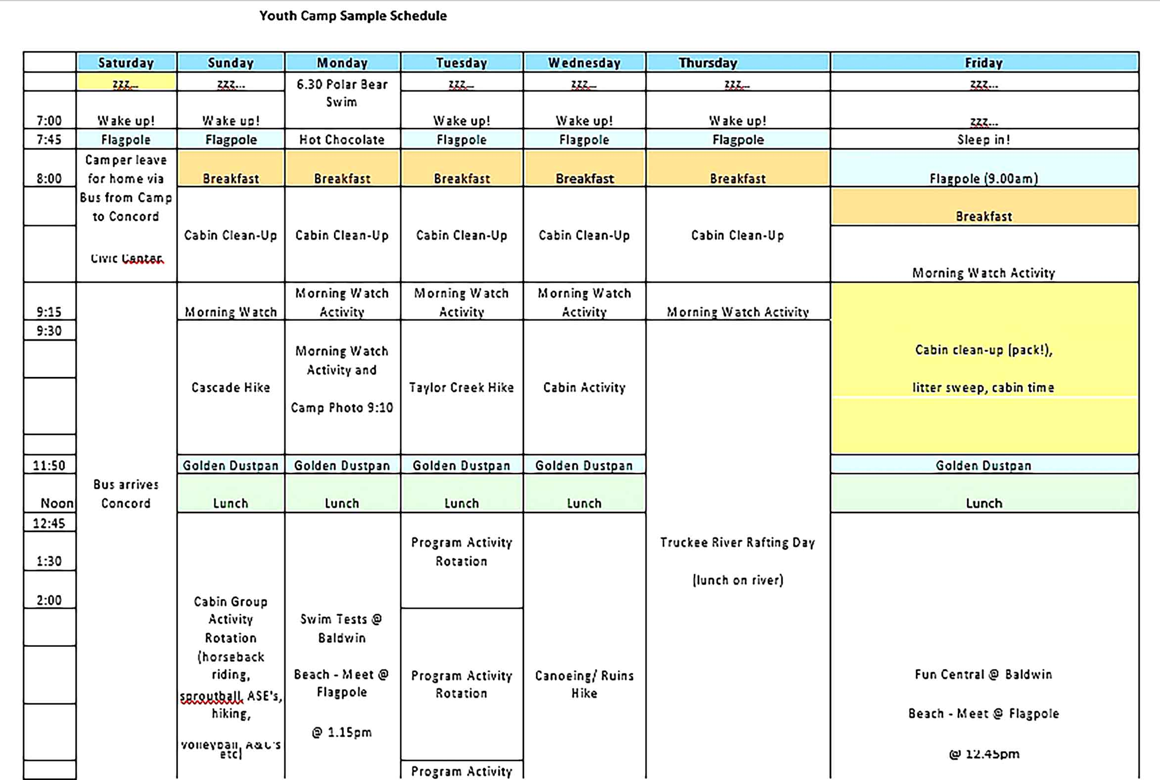 Template Youth Camp Chids Schedule Sample