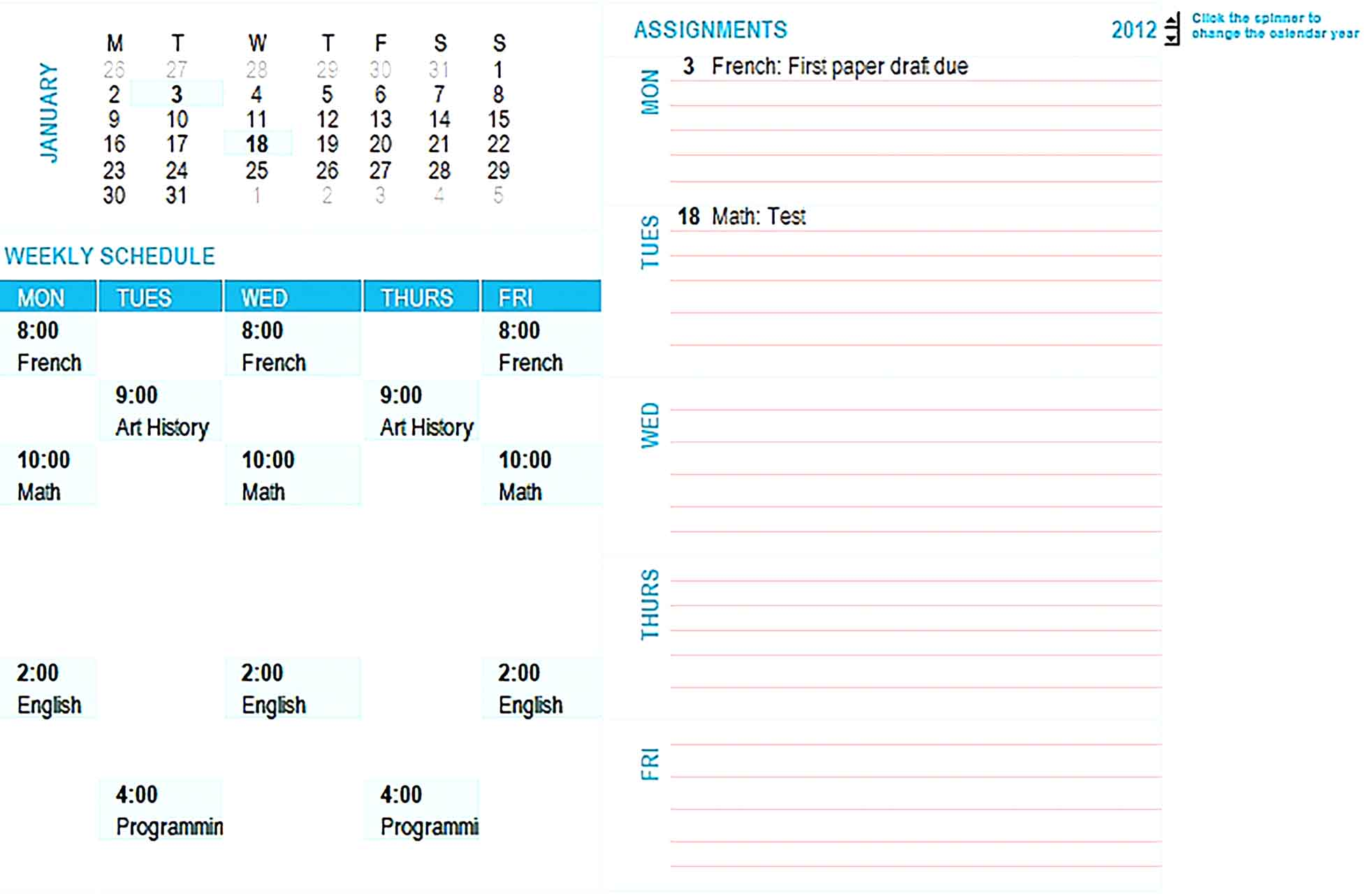 Template student weekly planning calendar any year mon sun Sample