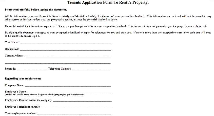 Tenants Application Form for Rental Property Inventory Sheet Templates Sample