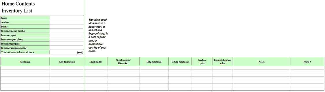 Tenants Contents Inventory List in Excel Templates Sample