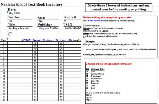 Text Book Inventory Spreadsheet