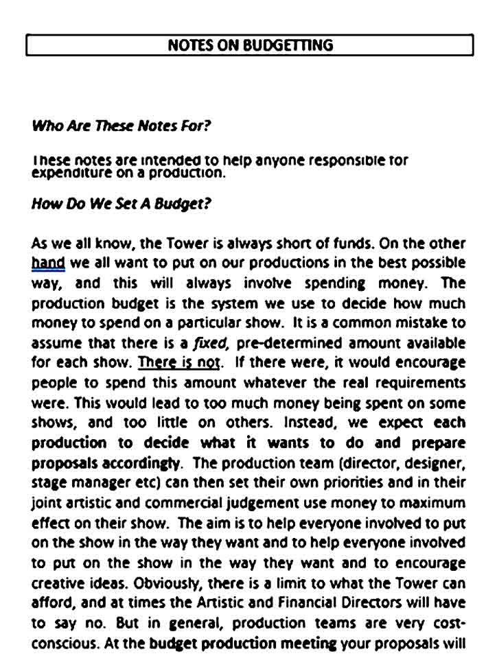 Theater Production Budget Template