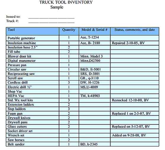 Truck Tool Inventory Spreadsheet Word Download Templates Sample