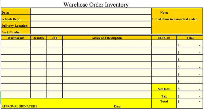Warehose Order Inventory Example Templates Sample