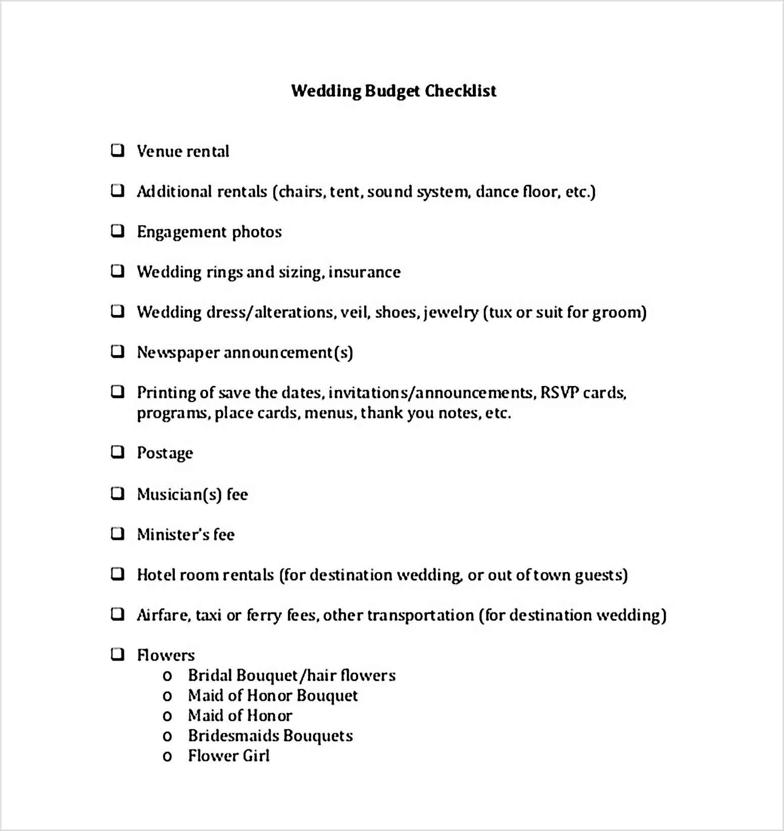 Wedding Budget Checklist Template For Download