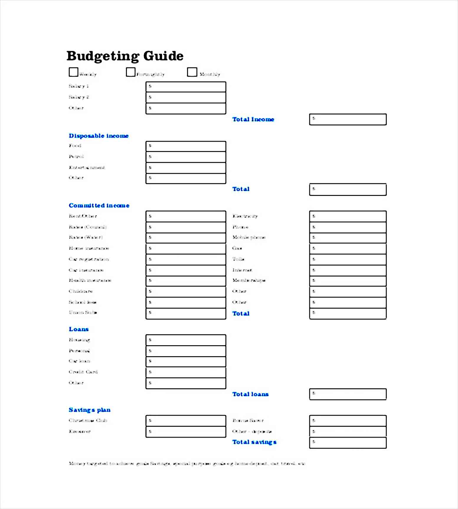 Weekly Budget Planner Template
