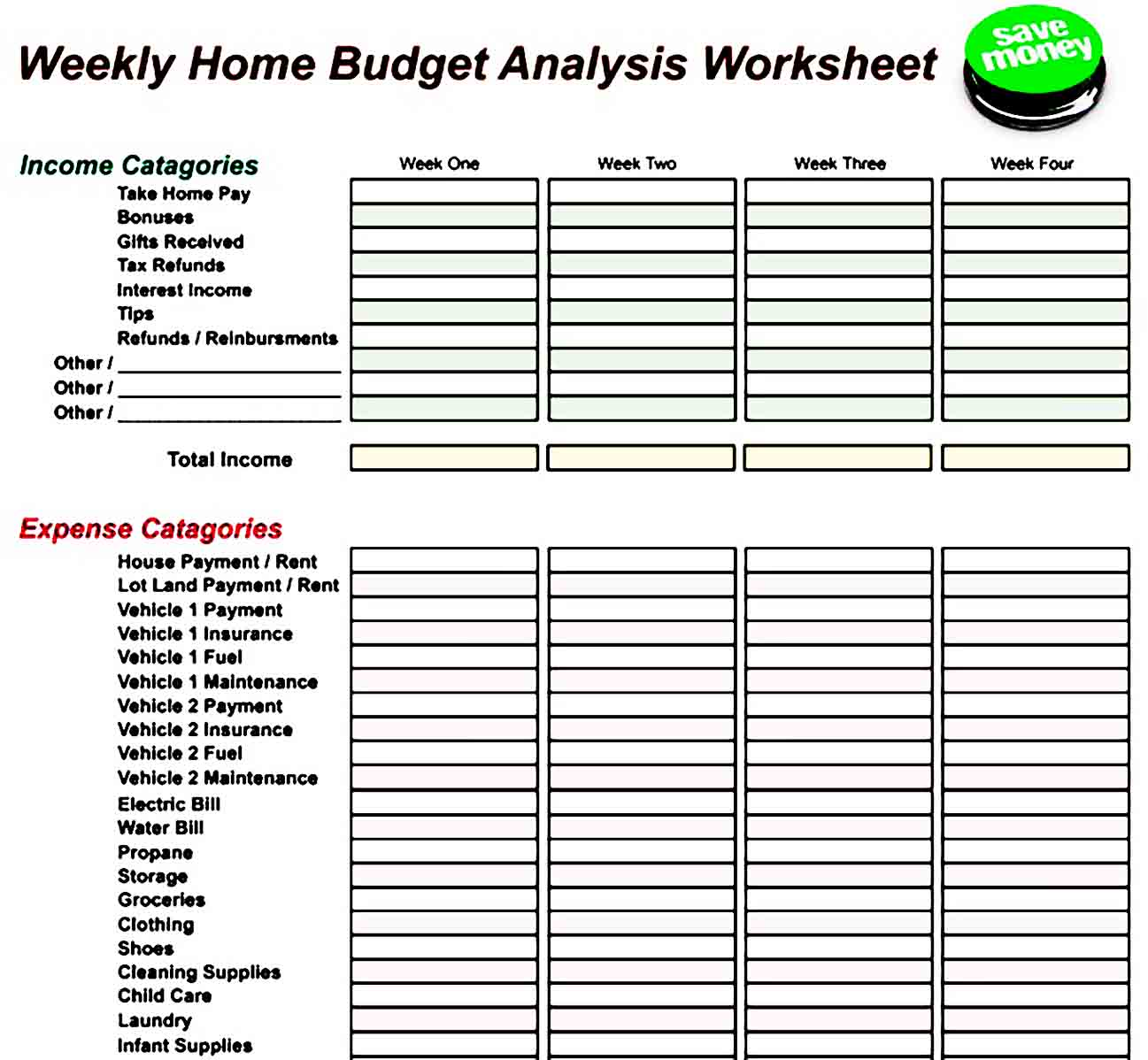 Weekly Home Budget