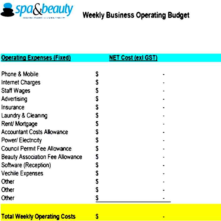 Weekly Operating Budget Template