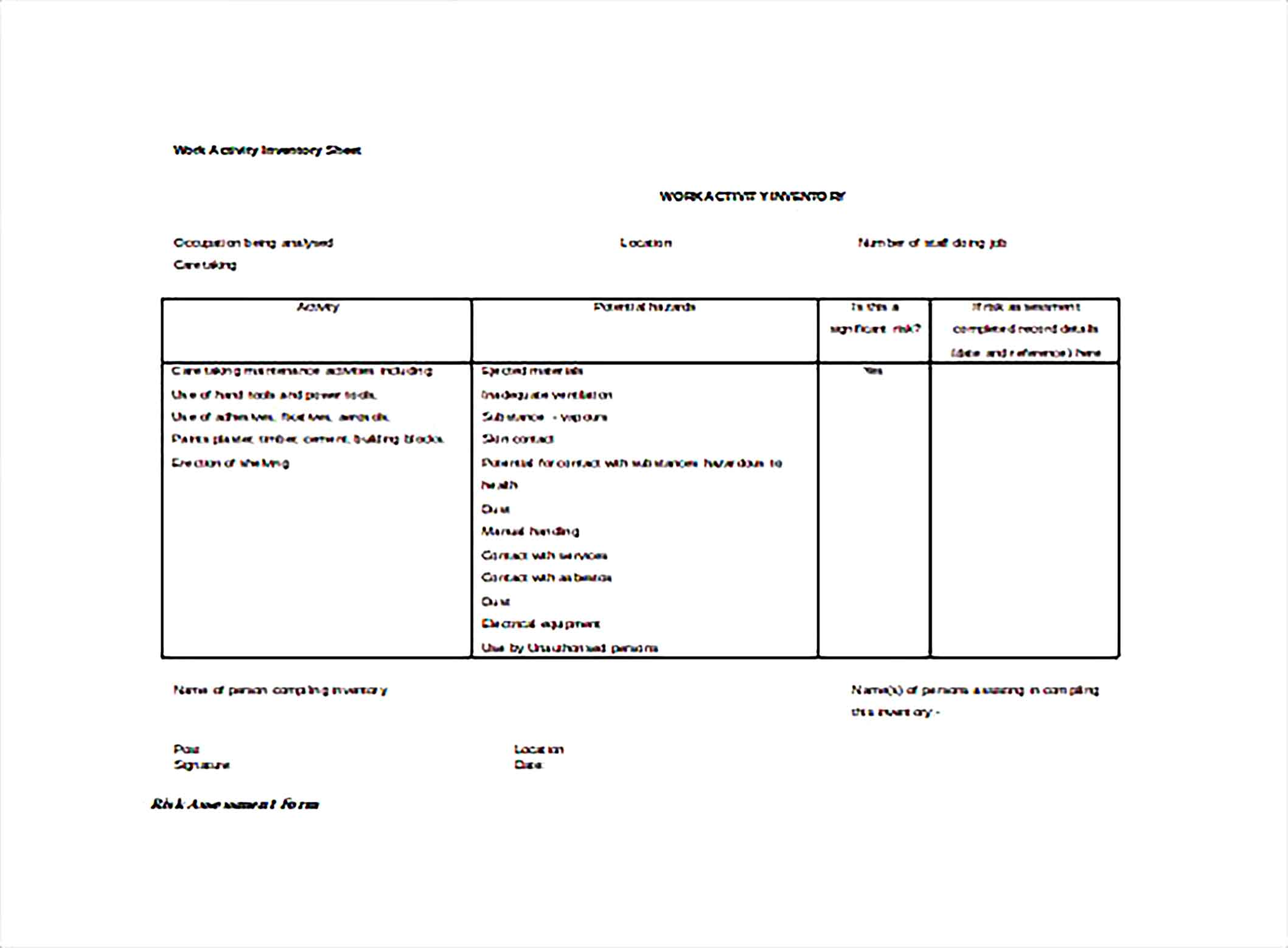 Work Activity Inventory Spreadsheet Word Template Free Download  1