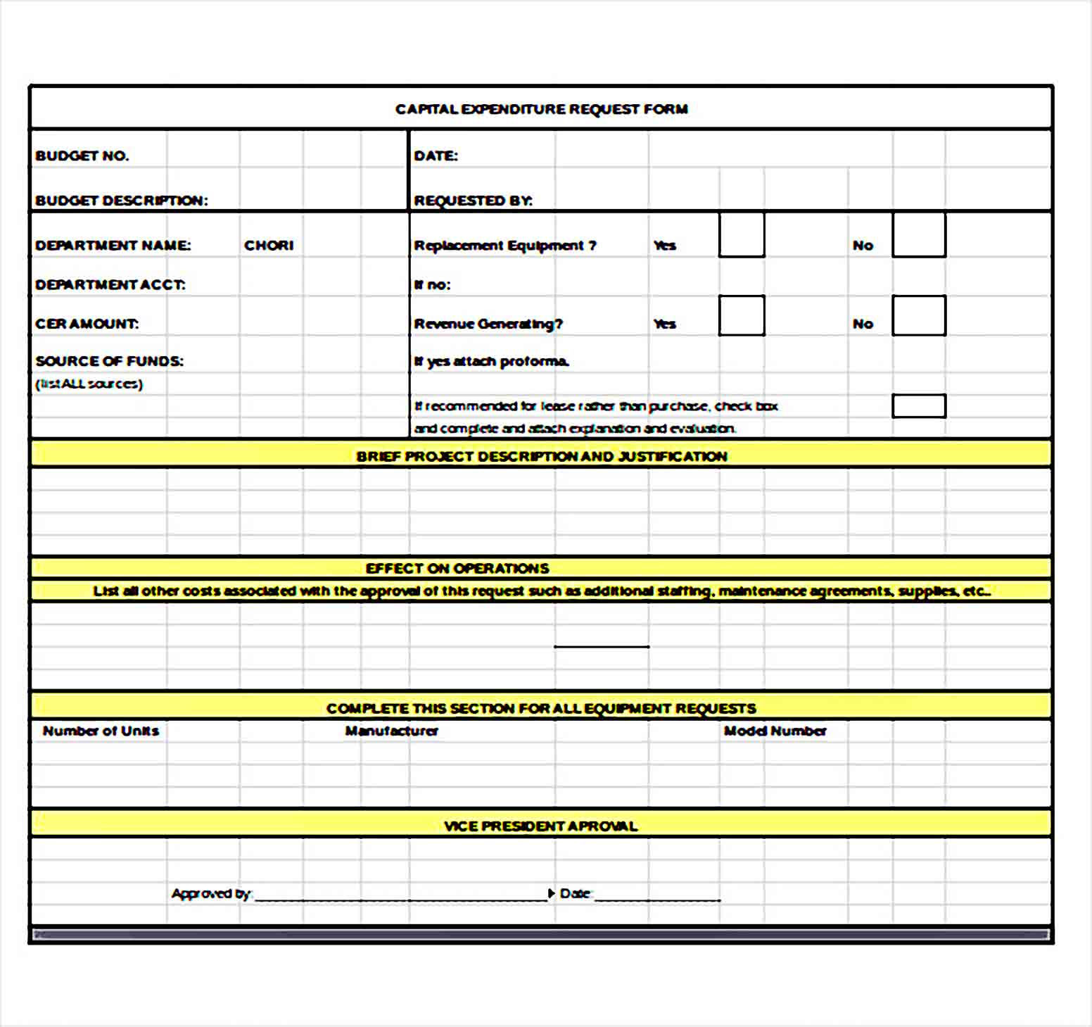 capital expenditure budget request Form Excel