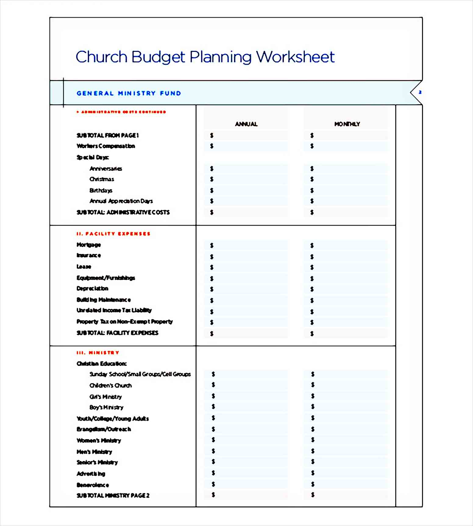 catholic church budget Planning template 1