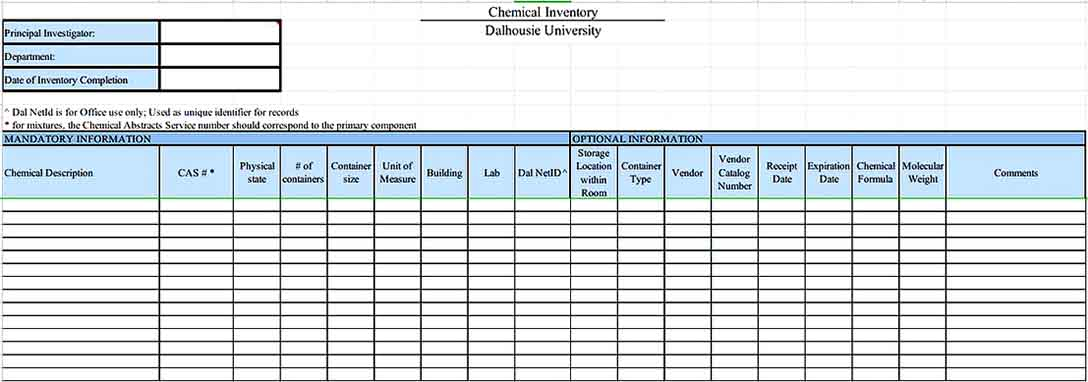chemical inventory list of Data1