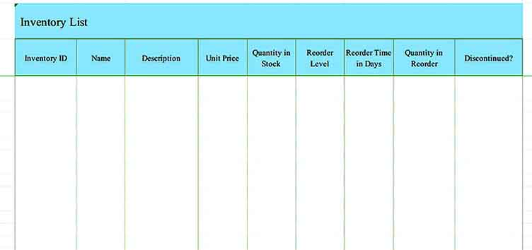 download inventory checklist template