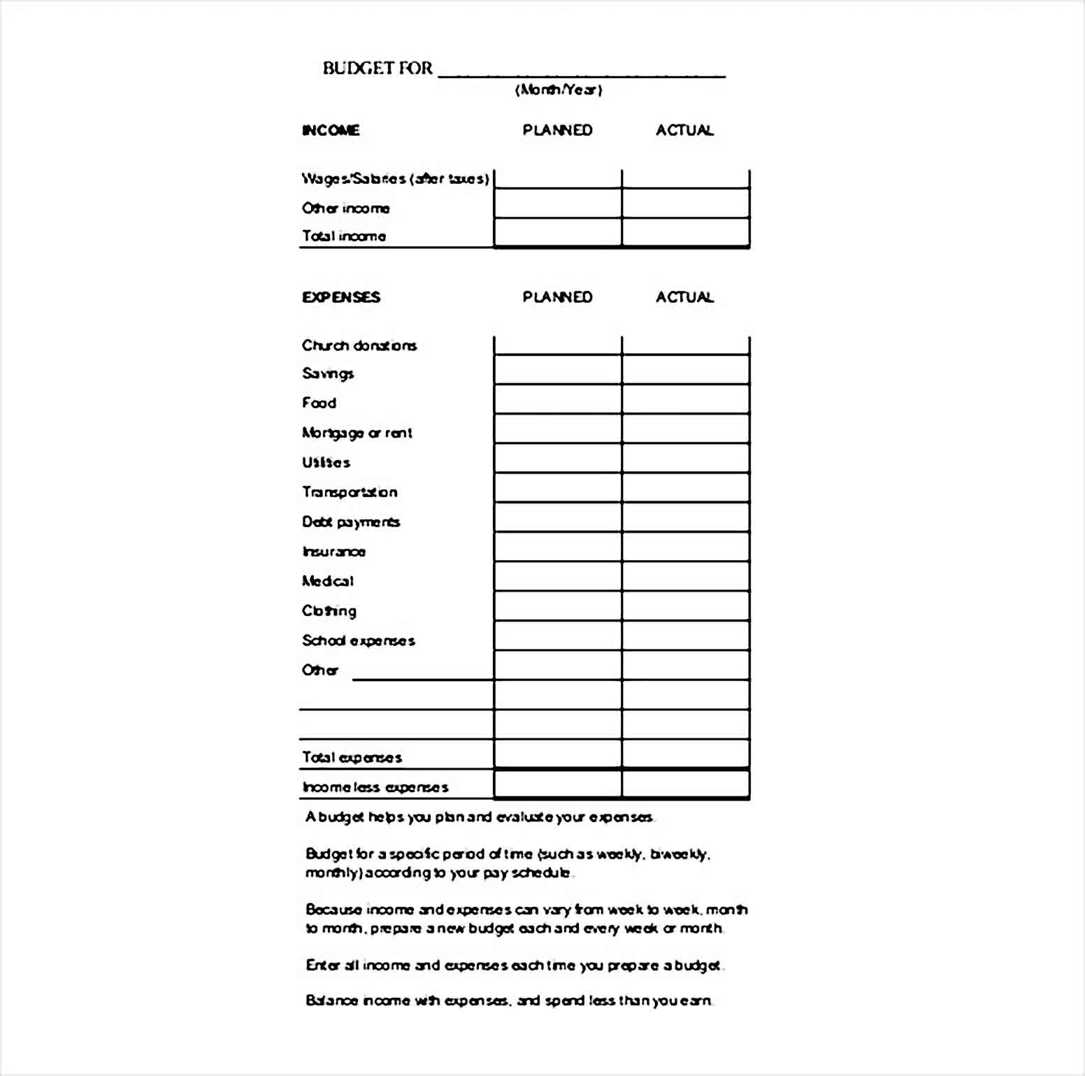 family budget tracker template PDF 1