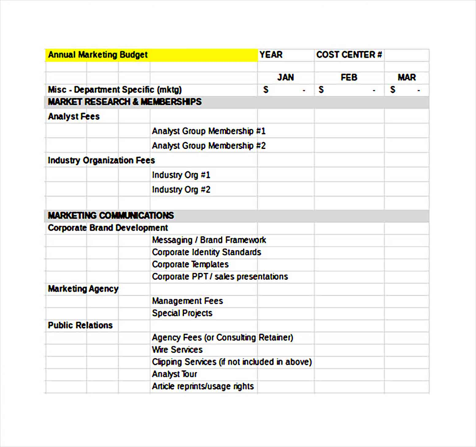 financial budget template excel