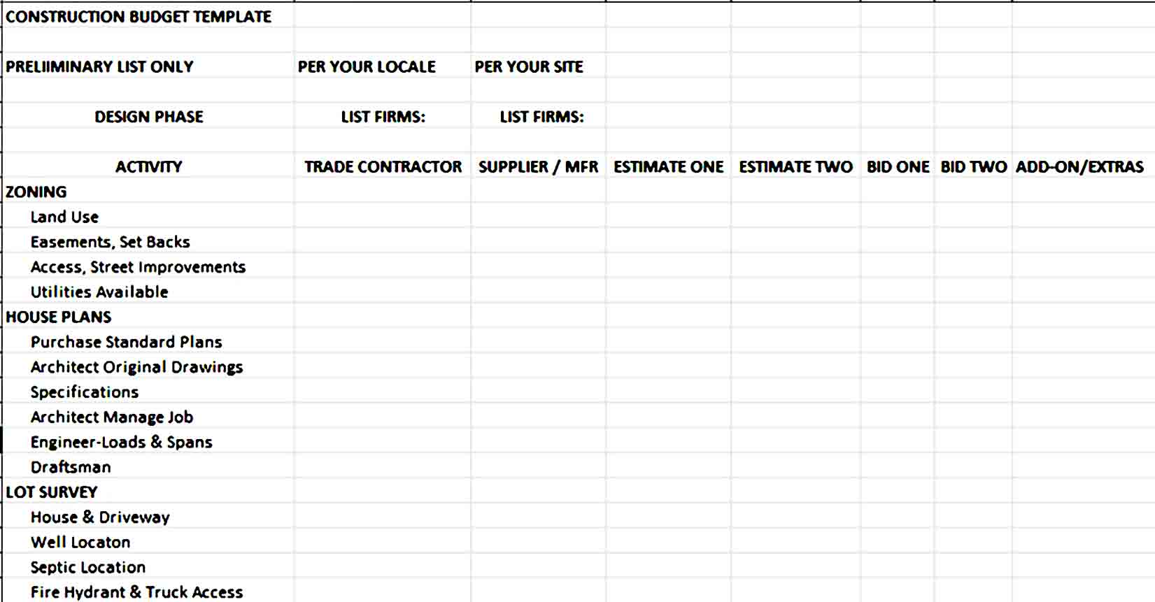free construction budget template