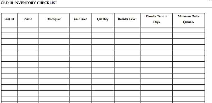 free order inventory checklist template in word