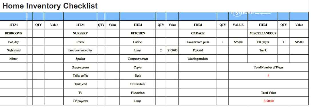 home inventory template sample