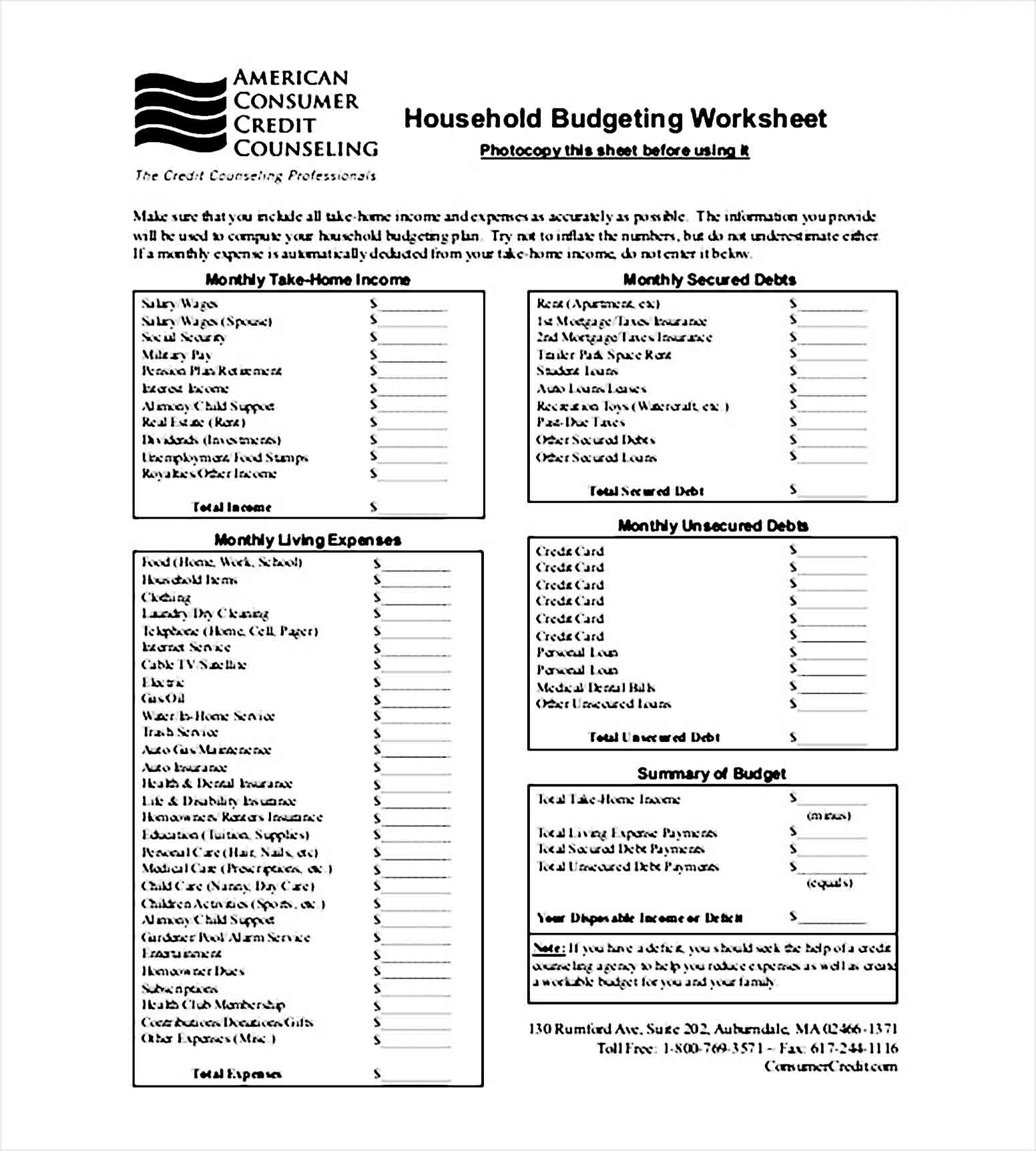 household budget tracker template PDF Format