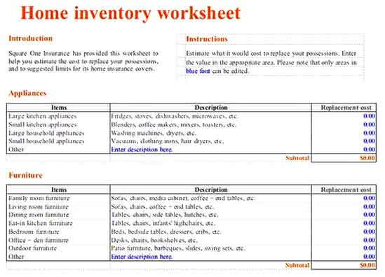 printable home inventory worksheet 1 Templates Sample