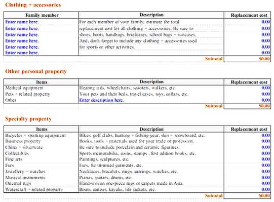 printable home inventory worksheet 3 Templates Sample