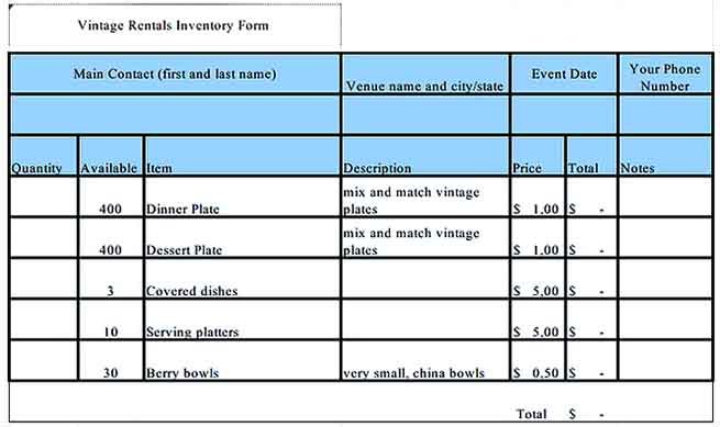 sample rental inventory template