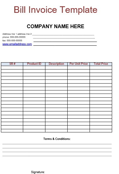 Billing Invoice Template Free Download in DOC