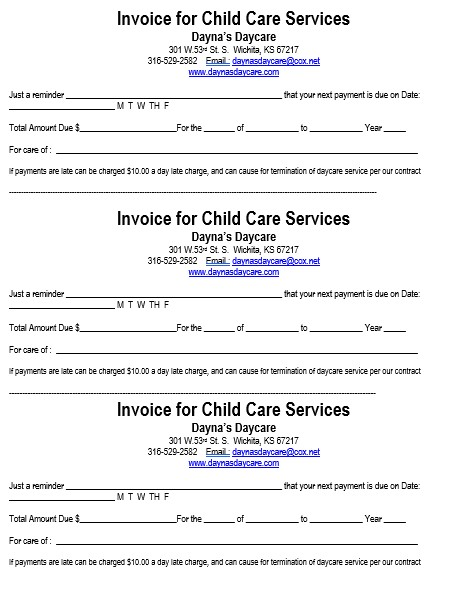 Invoice for Child Care Services 1