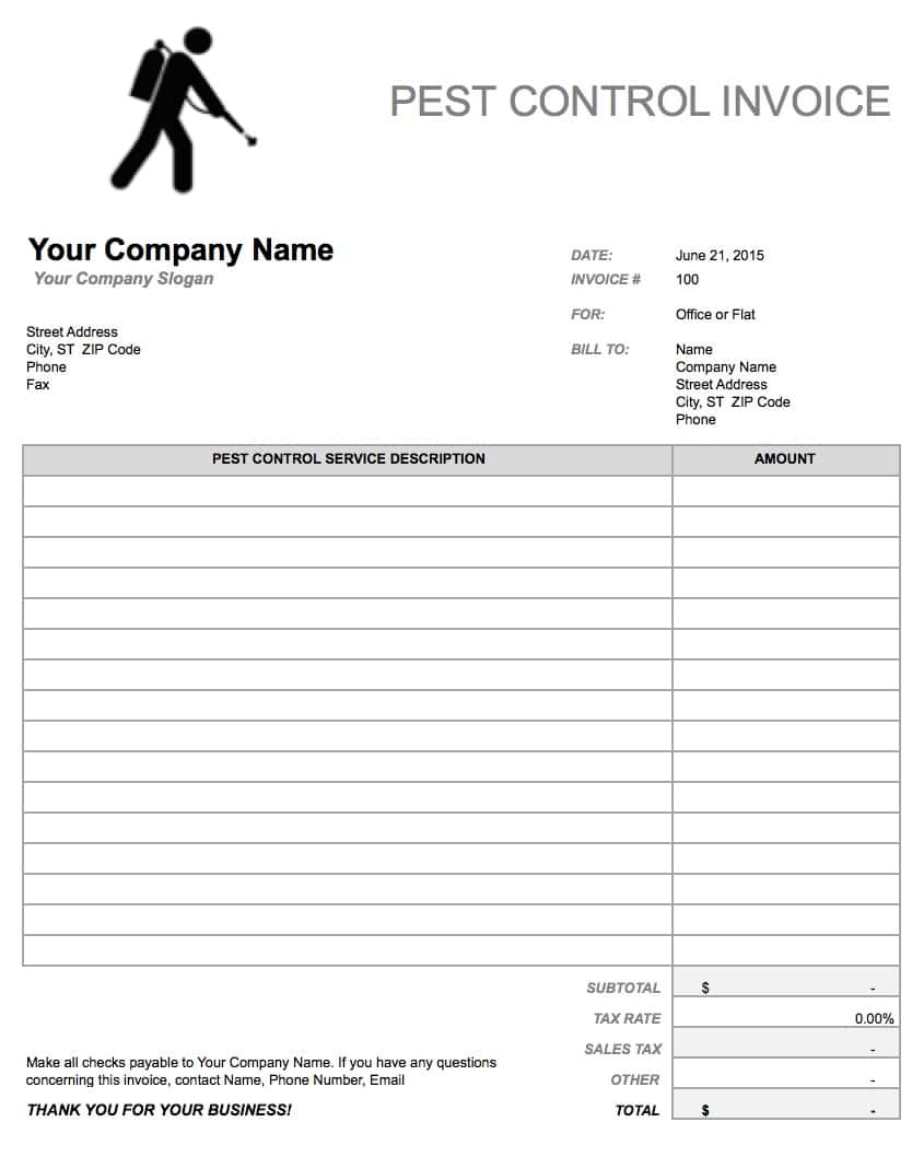 Pest Control Invoice Templates Printable