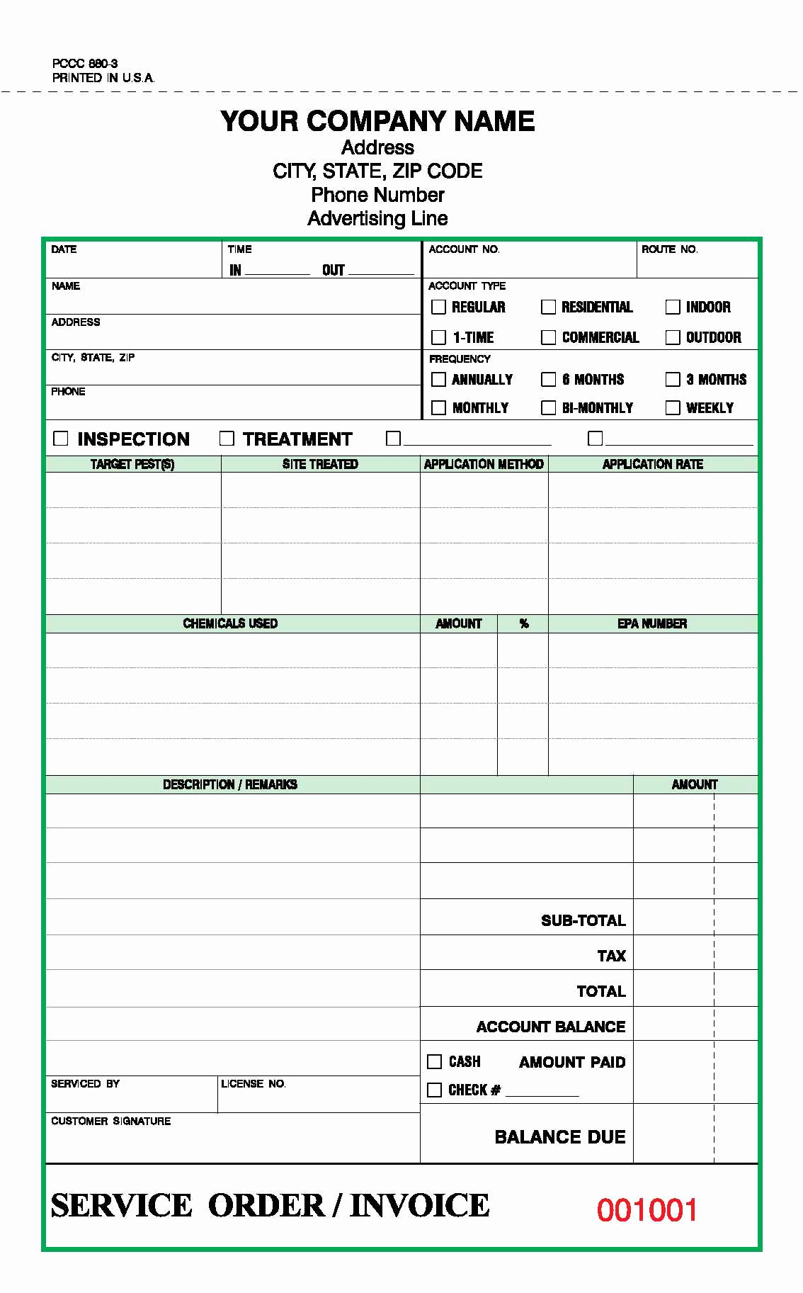 Printable Pest Control Invoice Templates