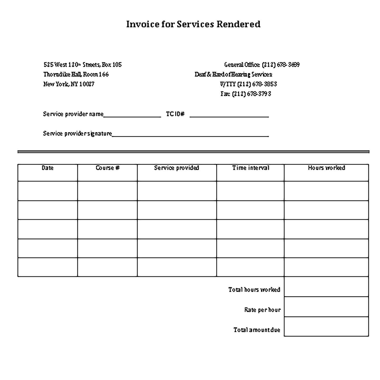 Sample Blank Receipt for Services Templates