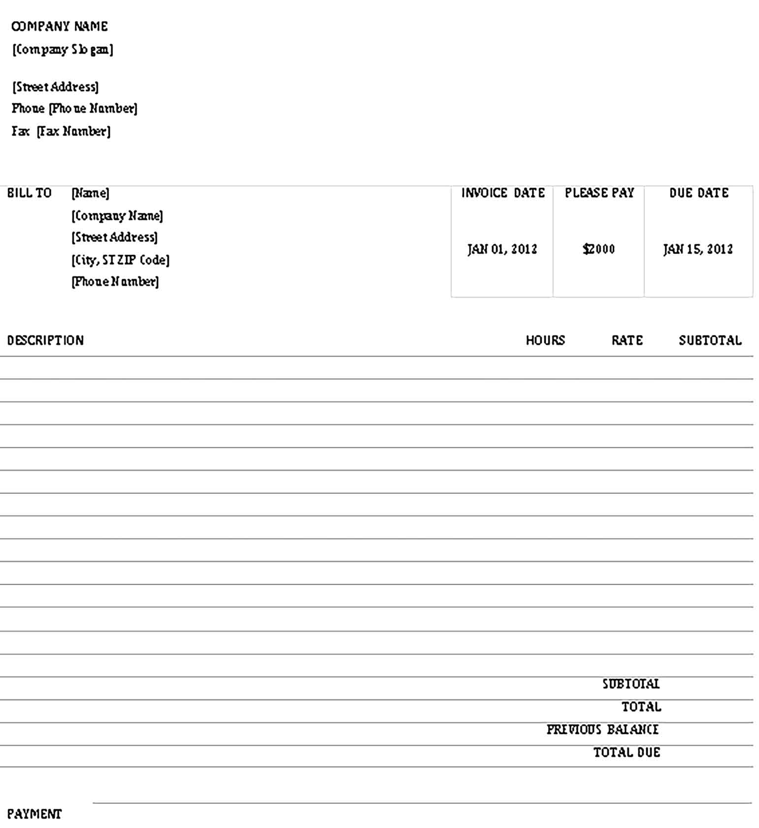 Sample Business Invoice Receipt Doc Templates