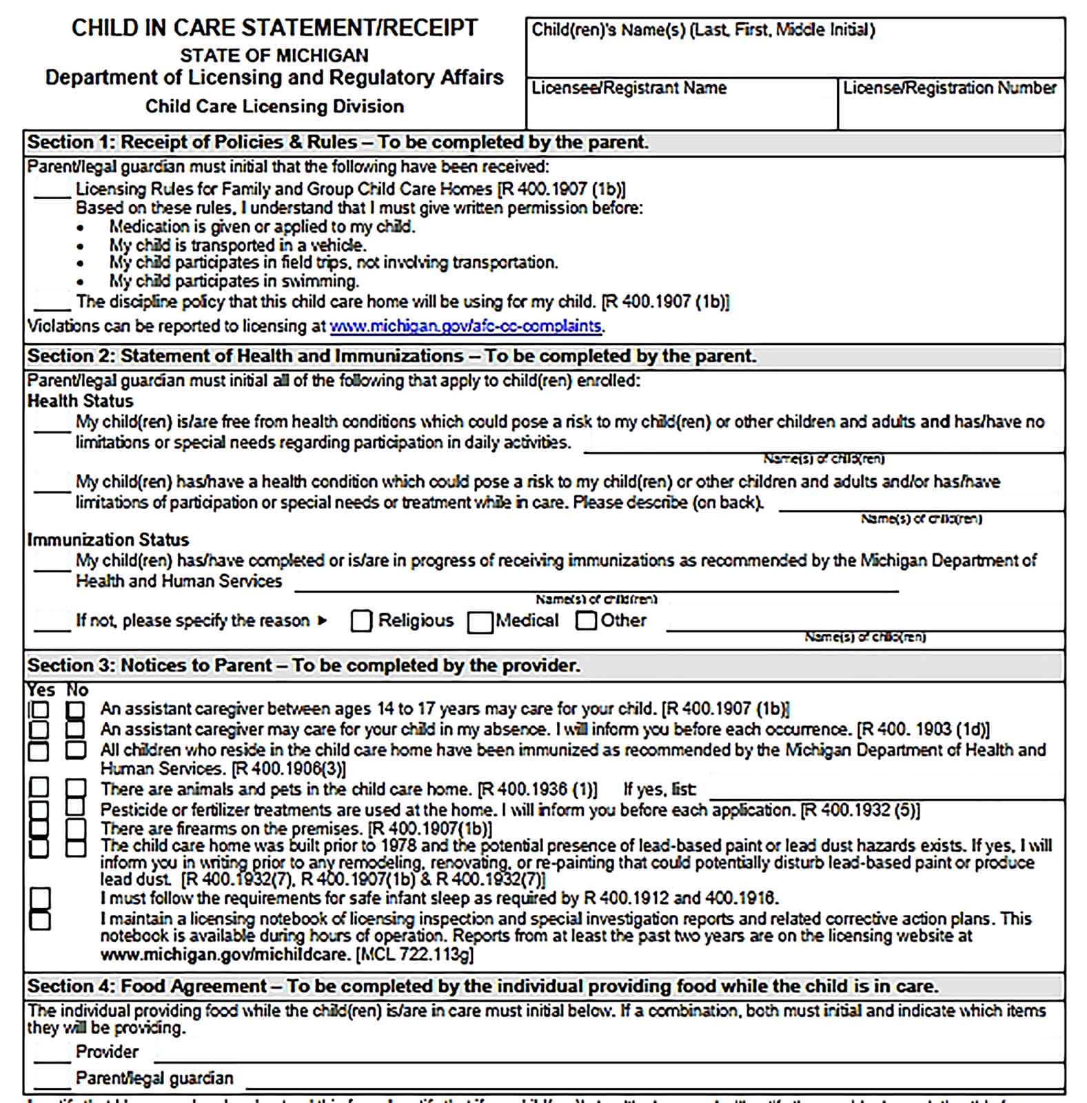 Sample Child In Care Statement Templates