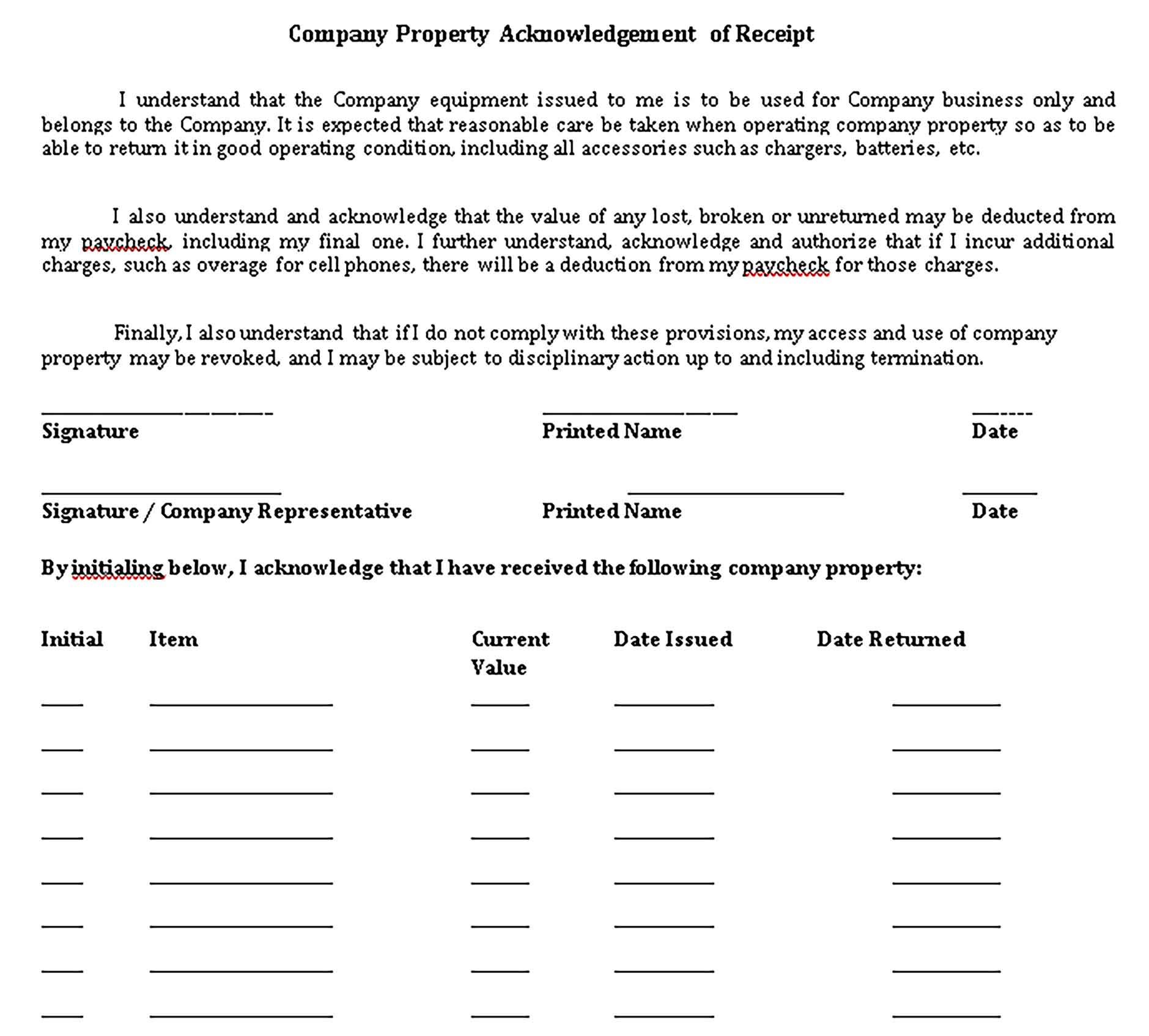 Sample Company Acknowledgement Templates