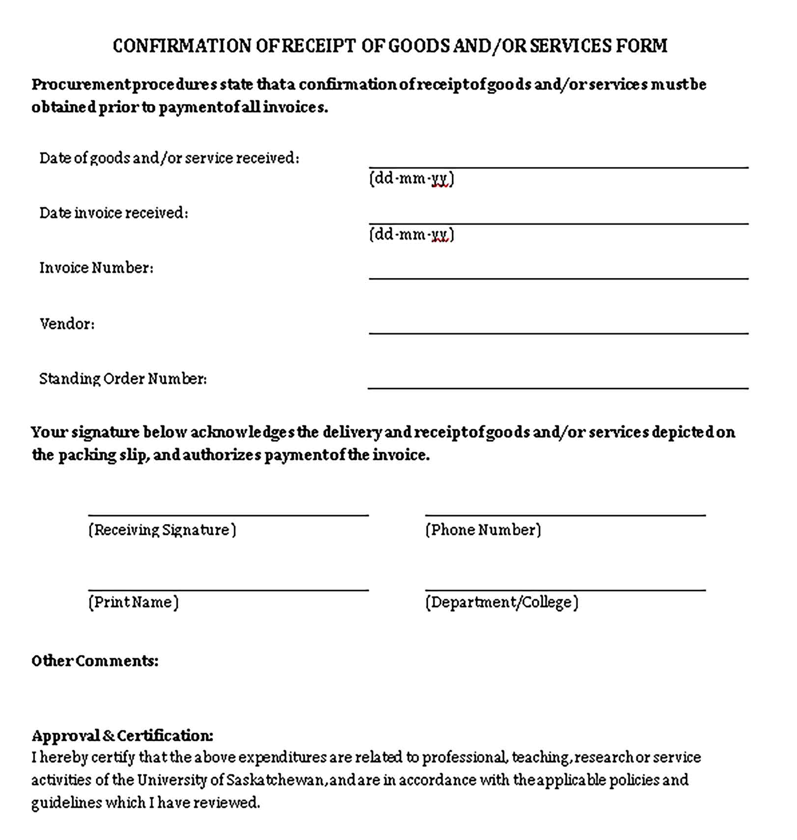 Sample Confirmation of Receipt of Goods and Services Form Templates 1