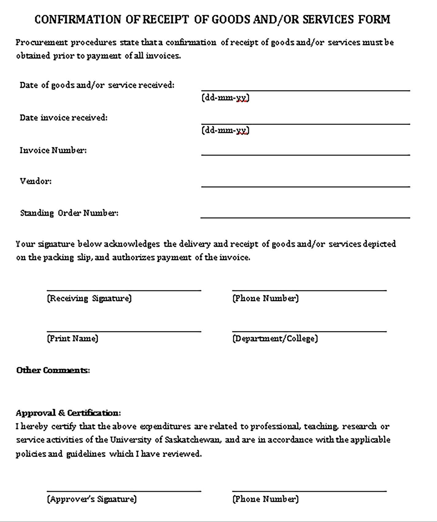 Sample Confirmation of Receipt of Goods and Services Form Templates