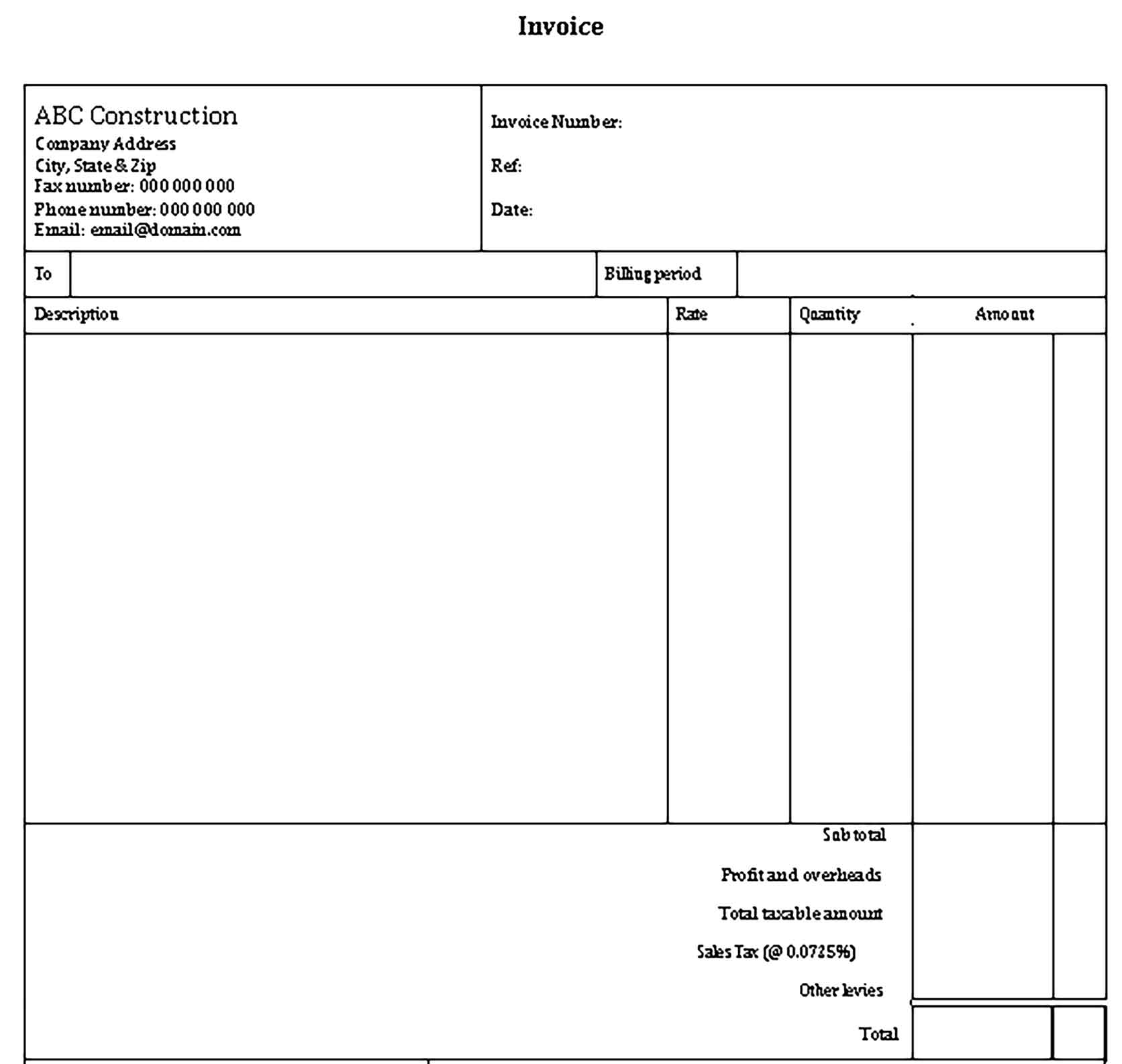 Sample Construction Invoice Templates 1
