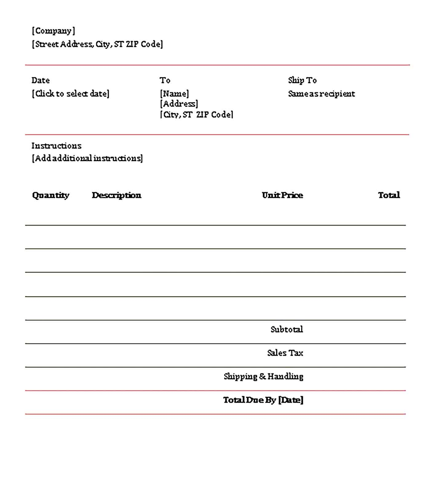 Sample Contractor Invoice Word 1 Templates