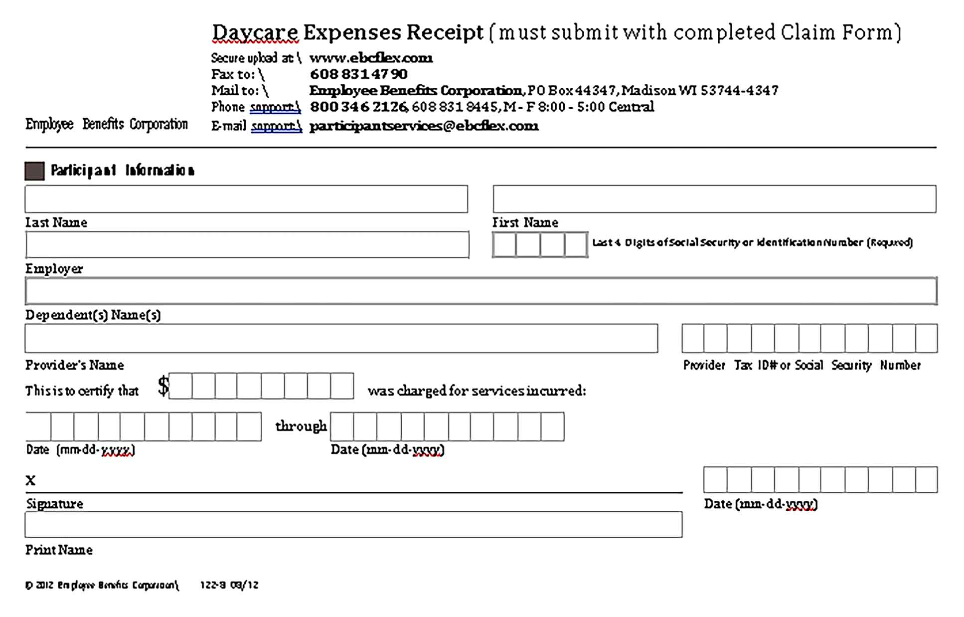 Sample Daycare Expenses Receipt Templates 1