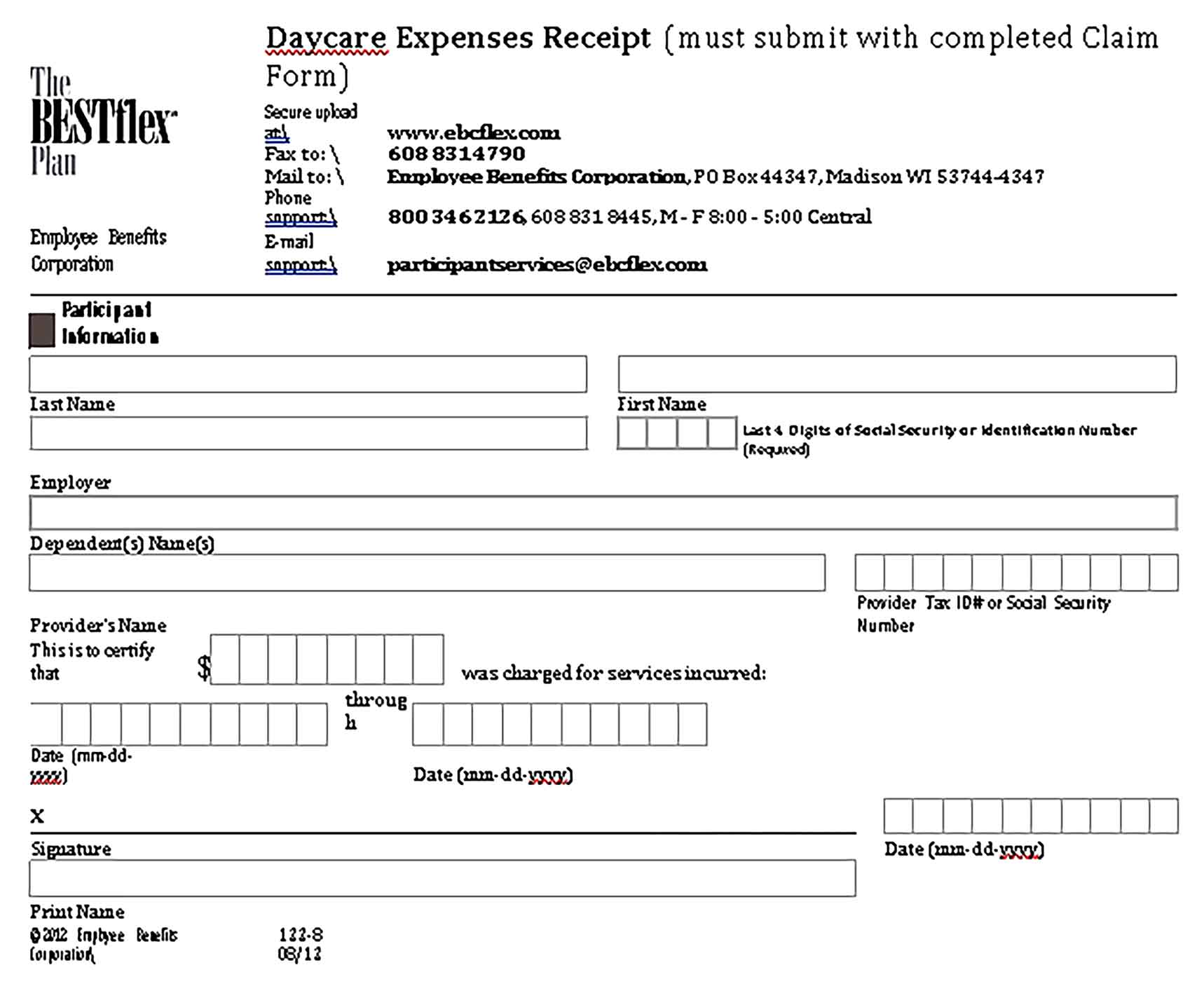 Sample Daycare Expenses Receipt Templates