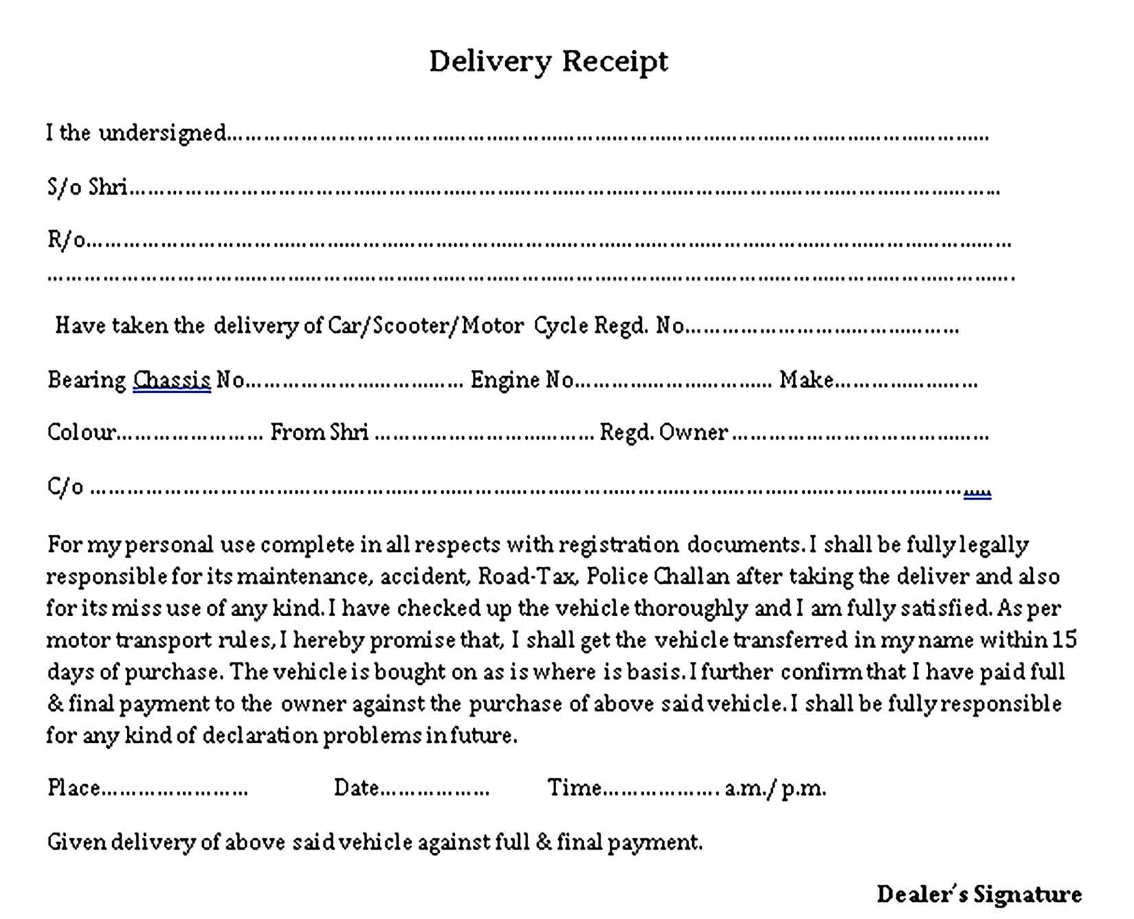 Sample Delivery Receipt Templates 1
