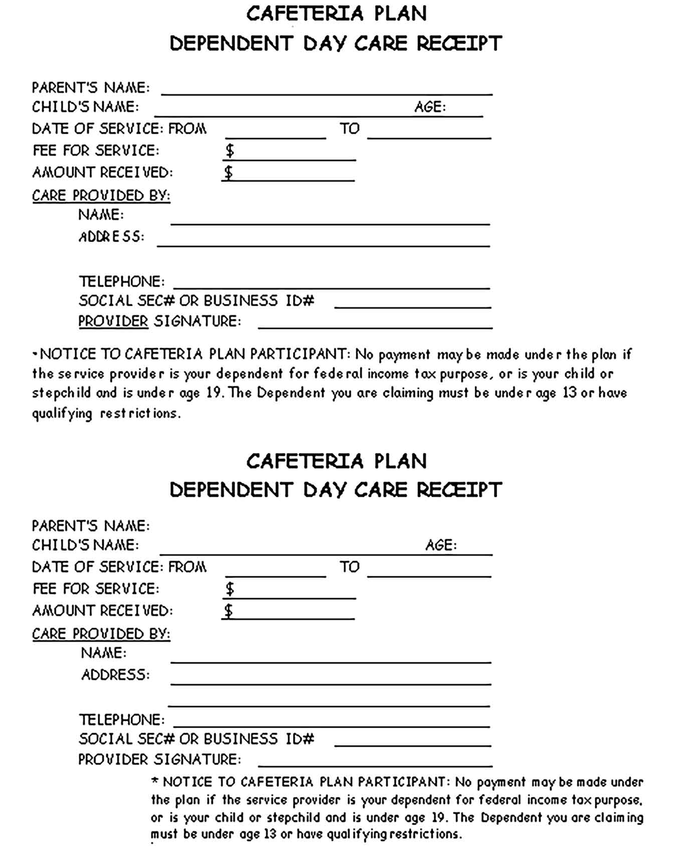 Sample Dependent Day Care Receipt Templates