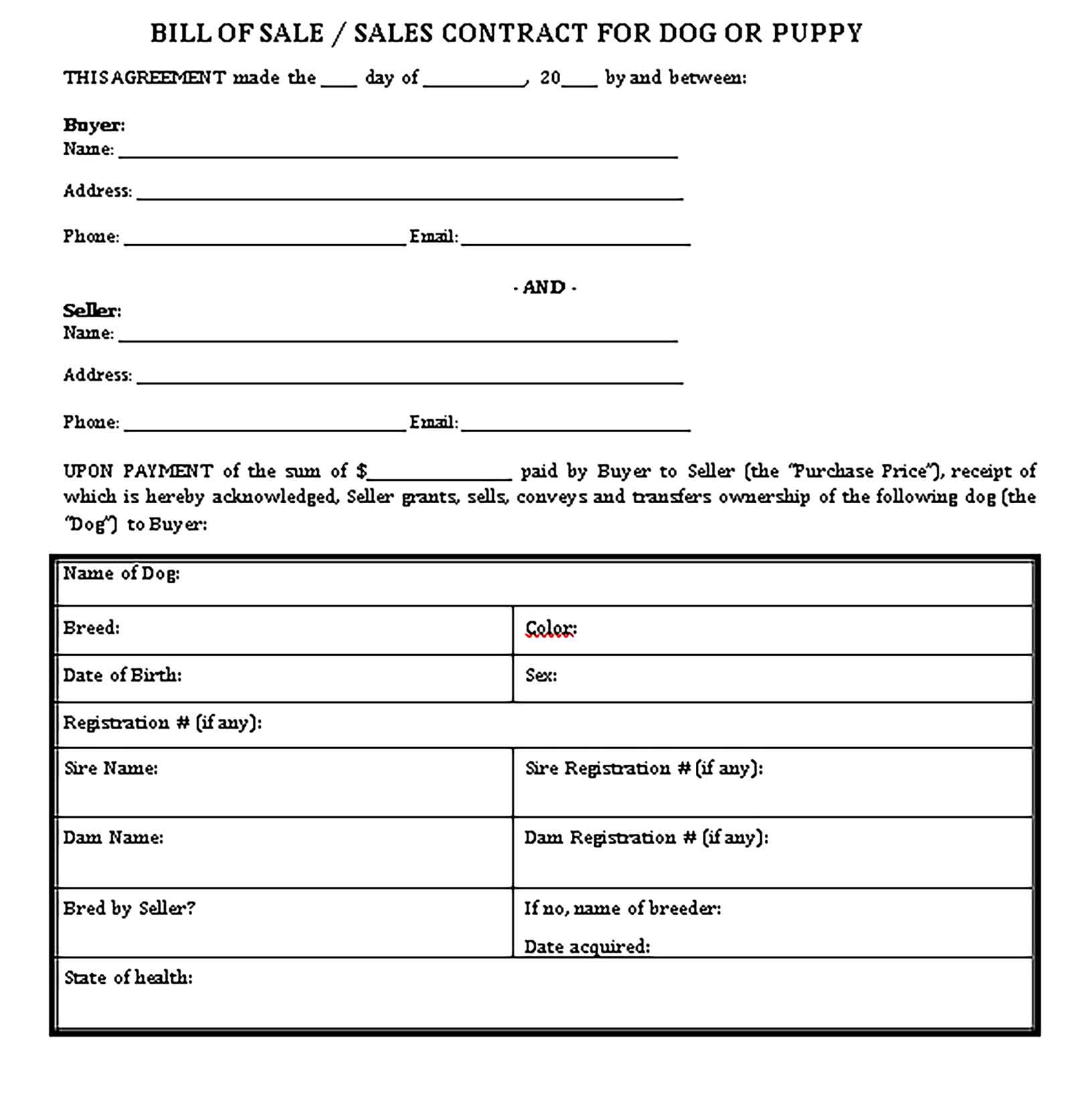 Sample Dog Bill of Sale 002 Templates