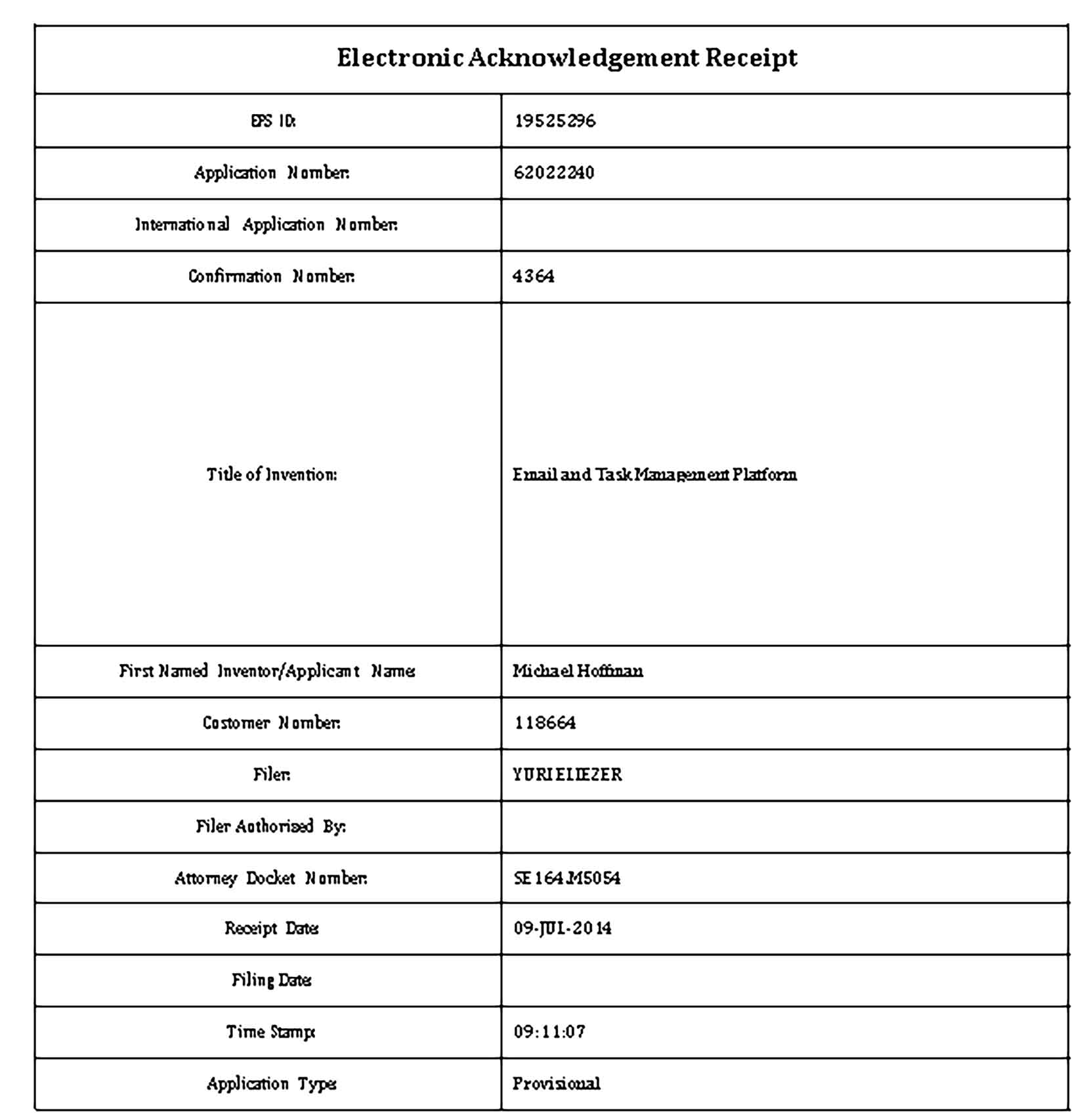 Sample Electronic Payment Acknowledgement Receipt Templates