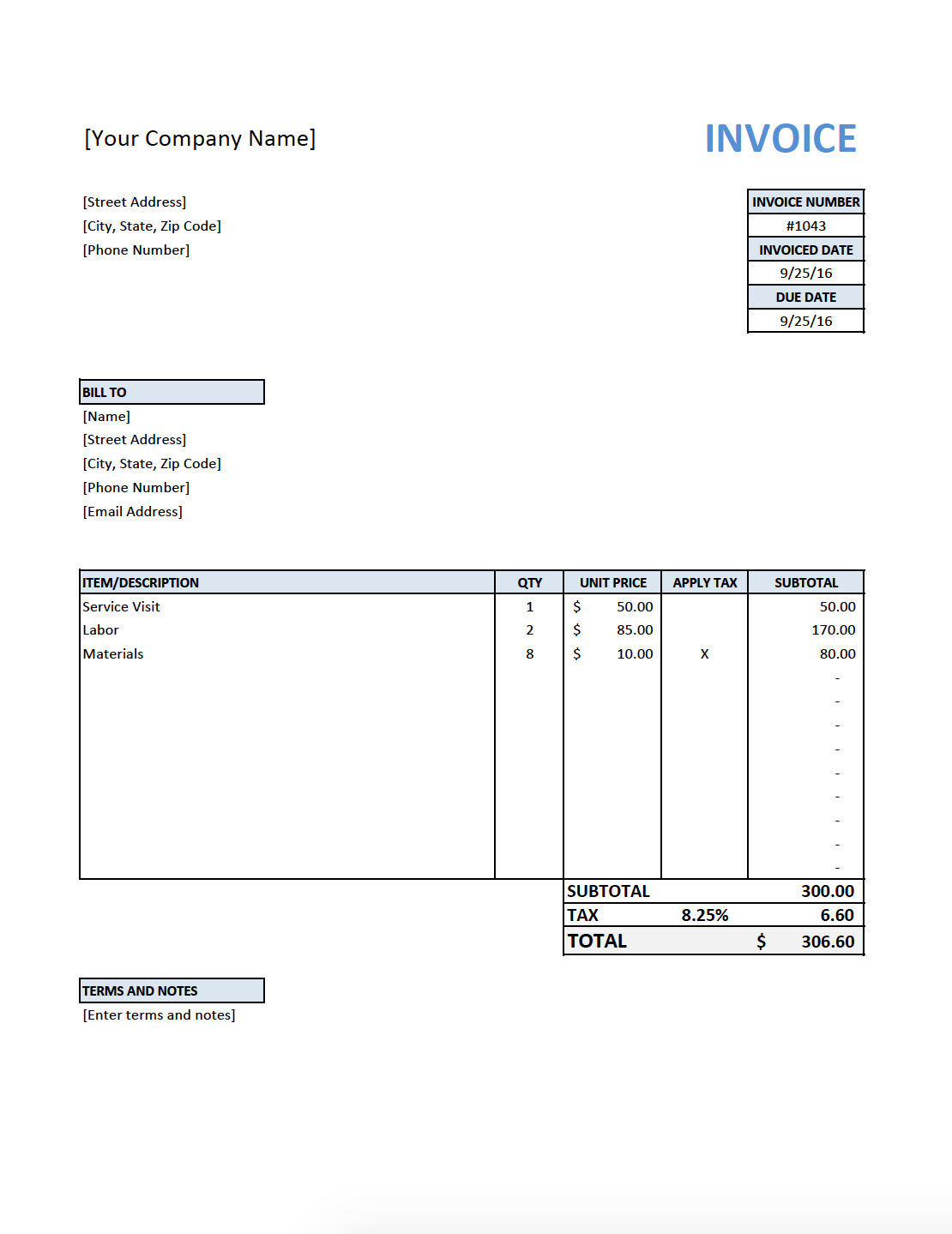 Sample Flat Gardening Care A4 Invoice1